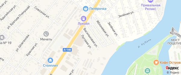 Васильковая улица на карте Заречного Адыгеи с номерами домов