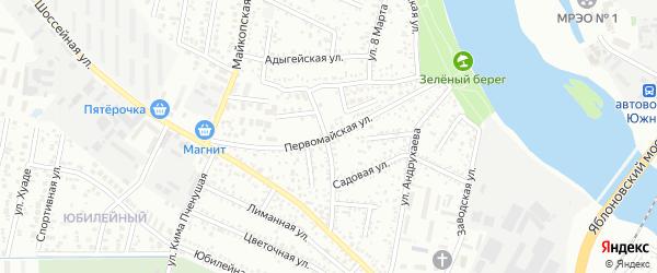 Первомайская улица на карте Яблоновского поселка Адыгеи с номерами домов