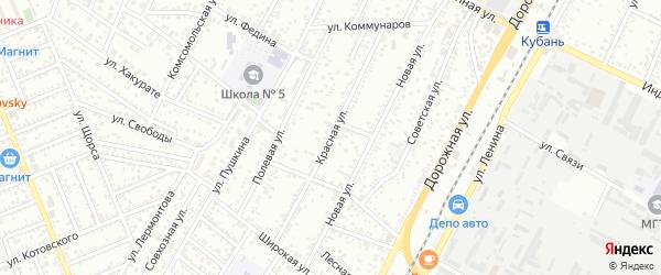 Красная улица на карте аула Тахтамукая Адыгеи с номерами домов