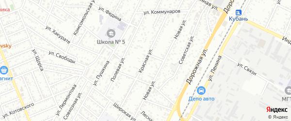 Красная улица на карте Яблоновского поселка Адыгеи с номерами домов