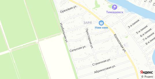 Изобильный 3-й переулок в микрорайоне Заря в Тимашевске с номерами домов на карте. Спутник и схема онлайн