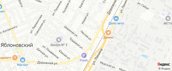 Лесная улица на карте Яблоновского поселка Адыгеи с номерами домов