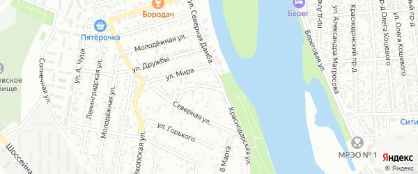 Краснодарский переулок на карте Яблоновского поселка Адыгеи с номерами домов