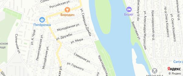 Краснодарская улица на карте Яблоновского поселка Адыгеи с номерами домов