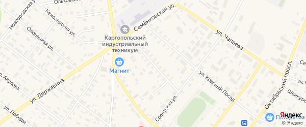 Первомайский переулок на карте Каргополя с номерами домов