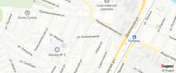 Улица Коммунаров на карте Яблоновского поселка Адыгеи с номерами домов
