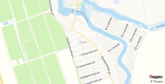 Карта микрорайона Заря в Тимашевске с улицами, домами и почтовыми отделениями со спутника онлайн