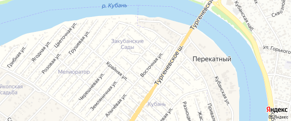 Сторожевая улица на карте садового некоммерческого товарищества Закубанские сады с номерами домов