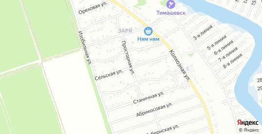 Просторная улица в микрорайоне Заря в Тимашевске с номерами домов на карте. Спутник и схема онлайн