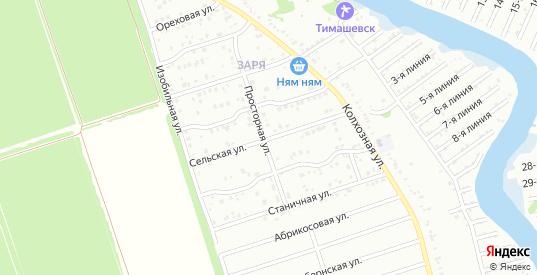 Сельская улица в микрорайоне Заря в Тимашевске с номерами домов на карте. Спутник и схема онлайн