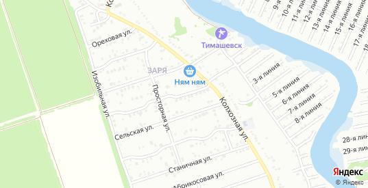 Просторный 1-й переулок в микрорайоне Заря в Тимашевске с номерами домов на карте. Спутник и схема онлайн