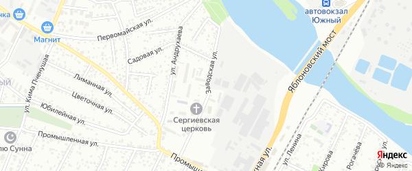 Заводская улица на карте Яблоновского поселка с номерами домов
