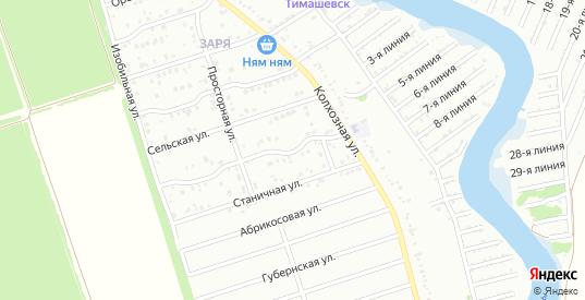 Просторный 2-й переулок в микрорайоне Заря в Тимашевске с номерами домов на карте. Спутник и схема онлайн