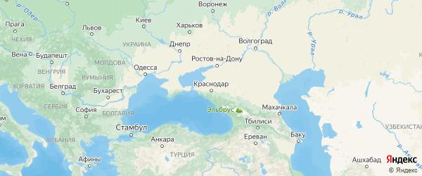 Карта Краснодарского края с городами и районами