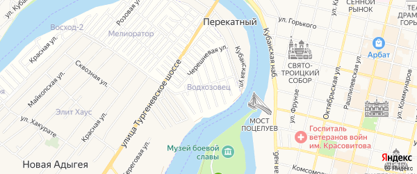 Карта садового некоммерческого товарищества Водхозовца в Адыгее с улицами и номерами домов