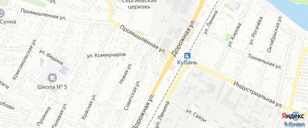 Дорожный переулок на карте Яблоновского поселка Адыгеи с номерами домов