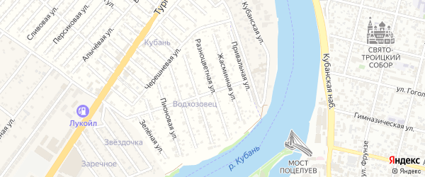 Разноцветная улица на карте Водхозовец Адыгеи с номерами домов
