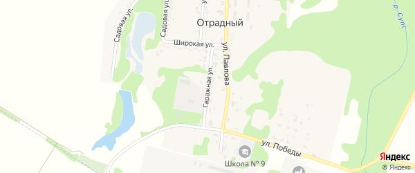 Гаражная улица на карте Отрадного поселка Адыгеи с номерами домов