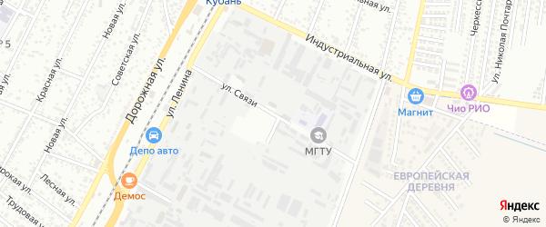 Улица Связи на карте Яблоновского поселка с номерами домов