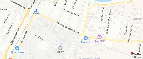 Индустриальная улица на карте Яблоновского поселка Адыгеи с номерами домов