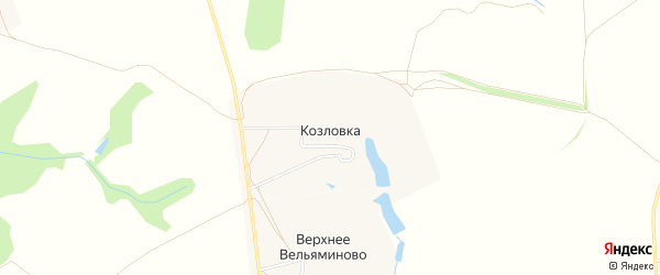 Карта деревни Козловки города Зарайска в Московской области с улицами и номерами домов