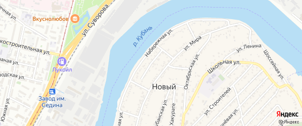 Пролетарская улица на карте Нового поселка Адыгеи с номерами домов