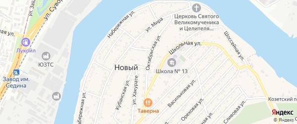 Октябрьская улица на карте Нового поселка Адыгеи с номерами домов