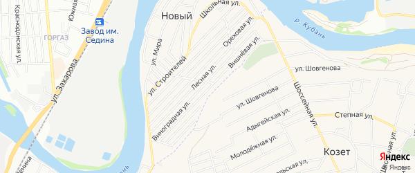 Карта садового некоммерческого товарищества Дружбы (аула Старобжегокая) в Адыгее с улицами и номерами домов