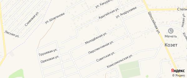 Молодежная улица на карте аула Козет Адыгеи с номерами домов