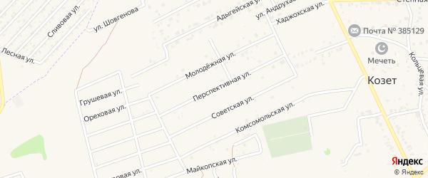 Перспективная улица на карте аула Козет с номерами домов