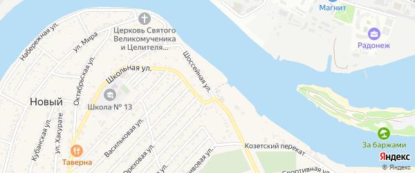 Шоссейная улица на карте Нового поселка Адыгеи с номерами домов