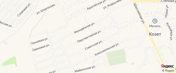 Перспективная улица на карте аула Козет Адыгеи с номерами домов