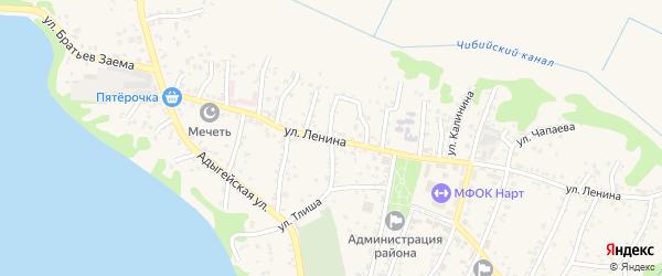 Улица А.В.Луначарского на карте аула Тахтамукая Адыгеи с номерами домов