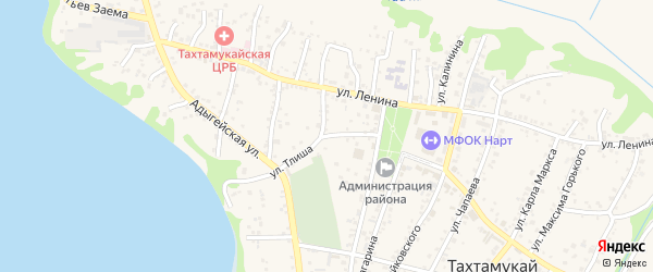 Улица Тлиша на карте аула Тахтамукая Адыгеи с номерами домов