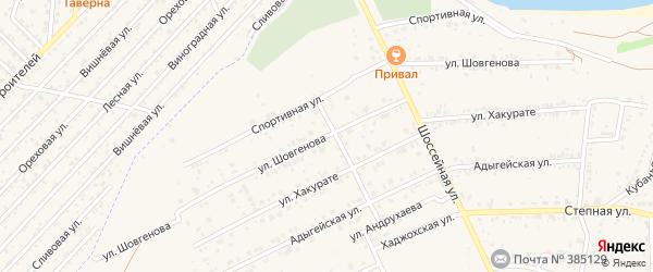 Улица Шовгенова на карте аула Козет Адыгеи с номерами домов