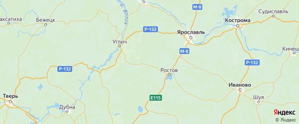 Карта Борисоглебского района Ярославская области с городами и населенными пунктами