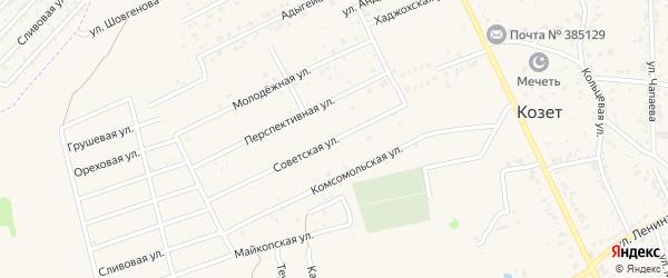 Советская улица на карте аула Козет Адыгеи с номерами домов