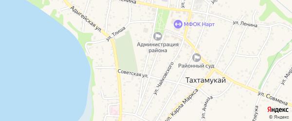 Улица Ш.Хакурате на карте аула Тахтамукая Адыгеи с номерами домов