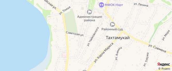 Советская улица на карте аула Тахтамукая с номерами домов