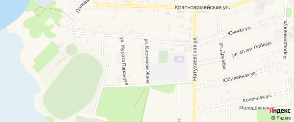 Улица К.Жане на карте аула Тахтамукая Адыгеи с номерами домов
