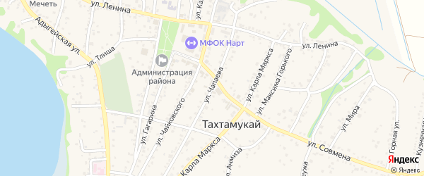 Улица Чапаева на карте аула Тахтамукая Адыгеи с номерами домов