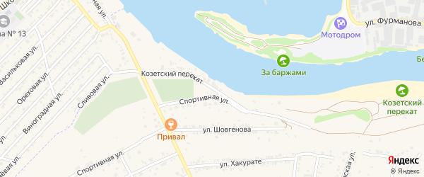 Улица Козетский перекат на карте аула Козет Адыгеи с номерами домов
