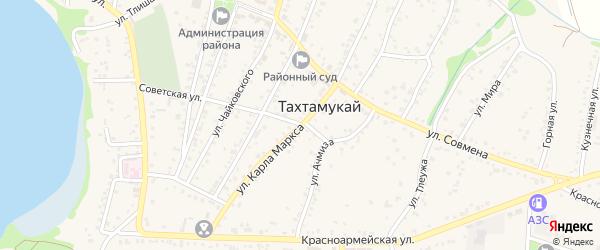 Улица К.Маркса на карте аула Тахтамукая Адыгеи с номерами домов