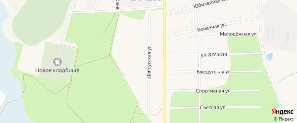 Шапсугская улица на карте аула Тахтамукая Адыгеи с номерами домов