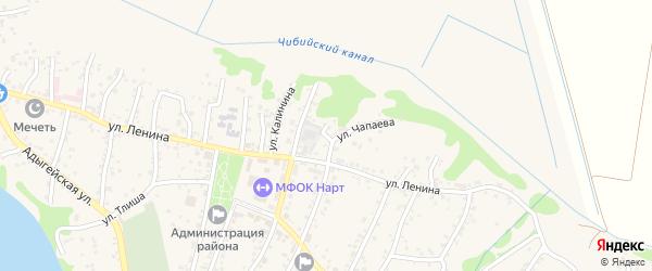 Чапаева 1-й переулок на карте аула Тахтамукая Адыгеи с номерами домов