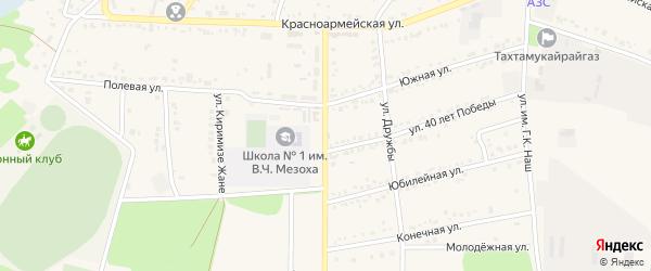 Натухаевская улица на карте аула Тахтамукая Адыгеи с номерами домов