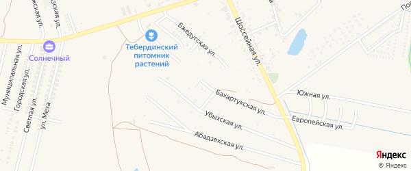 Бахартукская улица на карте аула Козет Адыгеи с номерами домов