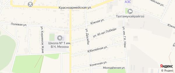Улица Дружбы на карте аула Тахтамукая Адыгеи с номерами домов