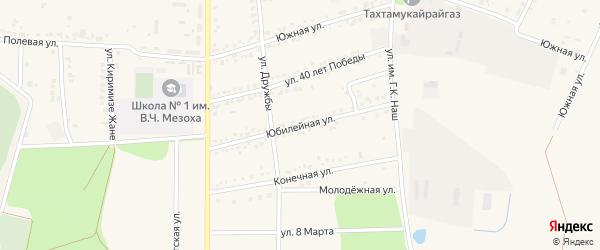 Юбилейная улица на карте аула Тахтамукая Адыгеи с номерами домов