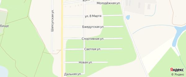 Спортивная улица на карте аула Тахтамукая Адыгеи с номерами домов